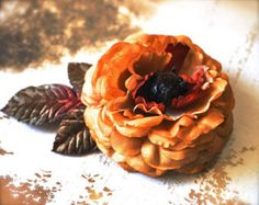 Items similar to Sale clearance--Mustard, rust and brown rose clip with vintage velvet leaves. Hair fashion accessory ready to ship on Etsy Flower Hair Clips, Flowers In Hair, Shoe Clips, Vintage Velvet, Headbands, Snack Recipes, Fashion Accessories, Tulle Skirts, Business Products