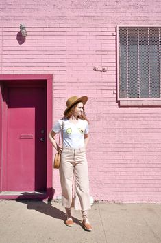 2d0ae267fb9 Lack of Color Hat. Pink wide leg cropped jeans. Cute spring outfit ideas on  the Window Seat View Blog.