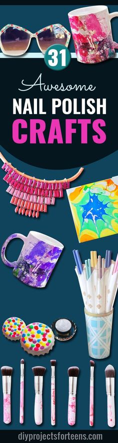 Cool DIY Projects and Fun Crafts Using Nail Polish - Fun, Easy and Cheap DIY Ideas are Cute DIY Gifts and Teen Craft Ideas for Teens and Tweens http://diyprojectsforteens.com/diy-crafts-using-nail-polish/