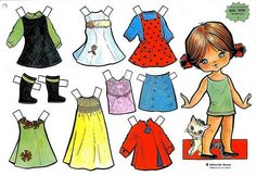 Bonecas de Papel: Coleção Editorial Roma - Série Verde Barbie Paper Dolls, Vintage Paper Dolls, All Paper, Paper Art, Paper Crafts, Doll Toys, Baby Dolls, Paper Dolls Printable, Paper Toys