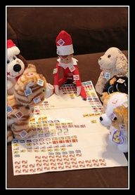 elf on the shelf ideas - game with stuffed animals