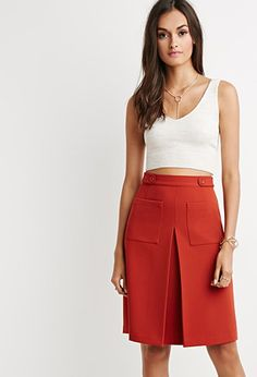 Crop tops and skirts with bold lines are both Fall favorites.  Inverted Front-Pleat A-Line Skirt   Forever 21   #thelatest
