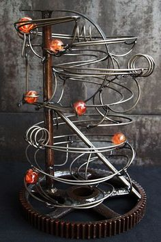 Items similar to Rolling Ball Sculpture - Industrial Letter R Frame on Etsy Rolling Ball Sculpture, Sculpture Art, Mobile Sculpture, Metal Sculptures, Abstract Sculpture, Bronze Sculpture, Marble Tracks, Marble Toys, Rube Goldberg Machine