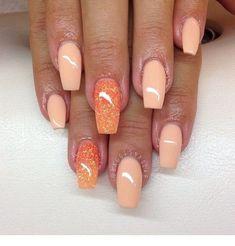 Most Popular Acrylic Nails - Nail Designs - Nail Art Sexy Nails, Hot Nails, Fancy Nails, Hair And Nails, Fabulous Nails, Gorgeous Nails, Pretty Nails, Peach Acrylic Nails, Peach Nails