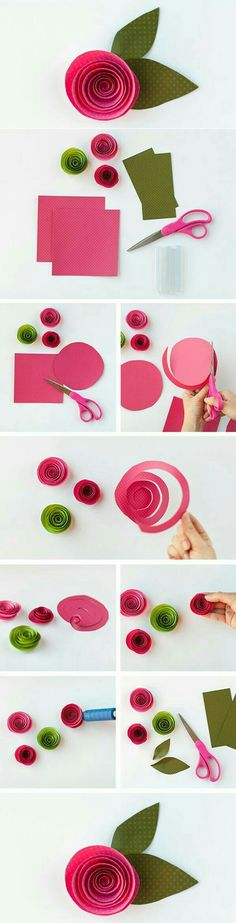 16 easy tutorials for making beautiful paper flowers, DIY and Crafts, Pink swirl paper. 16 easy tutorials for making beautiful paper flowers. Rolled Paper Flowers, Paper Flowers Diy, Paper Roses, Handmade Flowers, Felt Flowers, Flower Crafts, Diy Paper, Fabric Flowers, Paper Crafts
