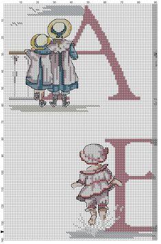 Cross stitch / Point de croix / Punto cruz / Punto croce All Our Yesterdays ABC Sampler / abecedaire / abecedario / alfabeto. Chart with color blocks & symbols