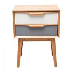 Design nachtkastje Airy 2D | retro | Kare design | wit | grijs | hout