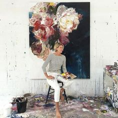 Official Friday portrait of a well worn week filled with incredibly dirty roses from down the road near my studio- we are surrounded by industrial sites here - such a sign of perseverance and fortitude that these little characters are still shining even with all the odds stacked against them #artiststudio #artist #painter #painting #contemporaryart #roses #floral #bobbieburgers