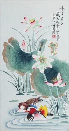 Lotus painting Chinese Wall art Mandarine ducks Flower Painting - US $232.00