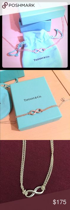 TIFFANY'S Double Chain Infinity Necklace Never used or worn Tiffany's Double Chain Infinity necklace. 16 inches long. Perfect condition. Sterling silver. Originally priced at $250. Tiffany & Co. Jewelry Necklaces