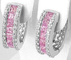 2.53 ctw Princess Cut Pink Sapphire & Diamond Hoop Earrings in 14k ...