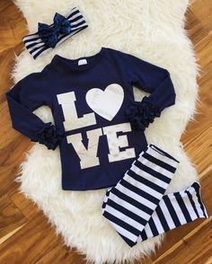 "Navy Metallic SPORT ""Love"" Boutique Set 