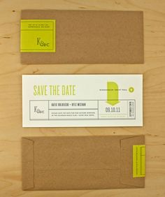 Absolutely love the clean, modern design of this save the date. And love the pop of color.
