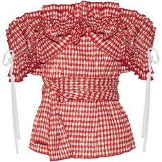 Rosie Assoulin Iris off-the-shoulder ruffled gingham seersucker top ($1,880) ❤ liked on Polyvore featuring tops, blouses, red, rosie assoulin, off shoulder frill top, flounce tops, gingham top and ruffle top
