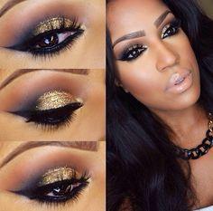 Maquillaje con tono dorados