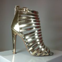 Gold heels with strappy design #cutesyoriginals