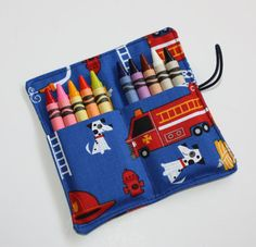 Crayon Rolls, Fire Truck Dalmations Crayon Roll holds 10 Crayons, Party Favors, Birthday