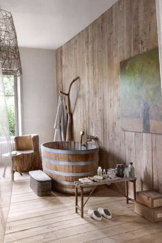 Beautiful bathroom/ how cool , i think it should be in a bunk house or farm house , way cool