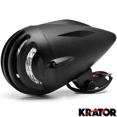 "Krator Krator 4 3/4"" Black Round Motorcycle Classic Headlight For Yamaha V-Star Vstar 950 1100 1300 Classic Stryker"
