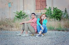 High School Seniors Senior Portraits Couple Couples Urban Skateboard Posing Portrait
