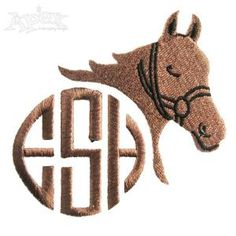 Horse Monogram Embroidery Design Frames