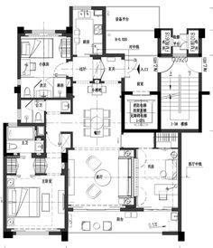 Detail Architecture, Modern Architecture House, Space Architecture, Residential Architecture, Craftsman Floor Plans, Modern Floor Plans, House Floor Plans, Apartment Layout, Apartment Plans