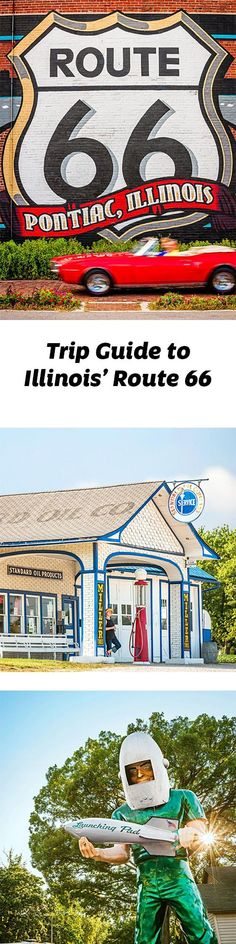 The 300-mile section of Route 66 angling across Illinois lures road-trippers seeking throwback gas stations, Muffler Men and the pleasures of taking your time getting anywhere. http://www.midwestliving.com/travel/illinois/a-trip-along-illinois-route-66