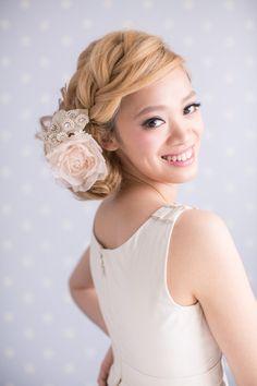 Handmade silk rose headpiece for brides by beingoflove on Etsy