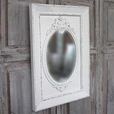 Wooden mirror antique white