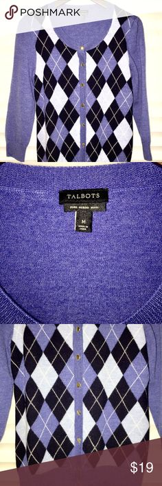 Talbots Blue Cardigan Beautiful rarely worn Talbots Blue Cardigan, Size M. Great Condition. Talbots Sweaters Cardigans