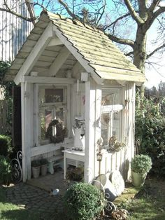 Landliebe Cottage Garden Shed Outdoor Sheds, Outdoor Rooms, Outdoor Living, Shed Design, Garden Design, Design Design, Greenhouse Shed, Potting Sheds, Potting Benches