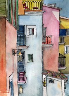 Tips For sketches Watercolor Print, Watercolor Illustration, Watercolor Paintings, Watercolor Sketch, Painting Art, Watercolor Architecture, Architecture Sketchbook, Italy Painting, House Drawing