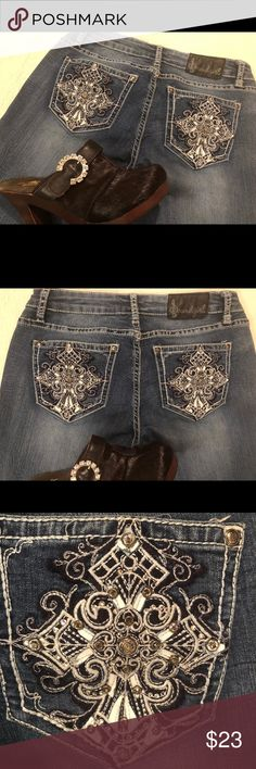 """Soundgirl jeans sz.7 crystals bootcut Soundgirl  Jeans sz. 7  bootcut crystal cross on back pockets . Gently used. Minor blemish in fading (see photo) Nice details! Measurements when flat W 13"""" R 7.5"""" I 30.5"""" Soundgirl Jeans Boot Cut"""