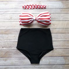 Bow Bandeau Bikini Vintage Style High Waisted Pin-up by Bikiniboo 227c7e060e1