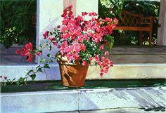 Bel-air Painting - Bel-air Bougainvillea Pot by David Lloyd Glover