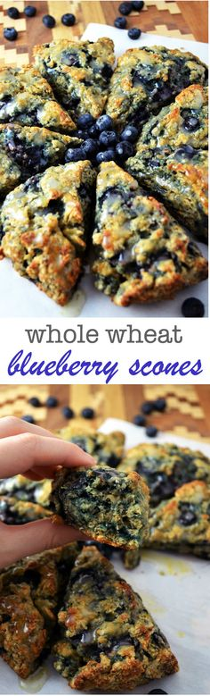 Whole Wheat Blueberry Scones -- surprisingly light on the inside, crunch on the outside and bursting with blueberry flavor -- all drizzled with a lemony glaze. Perfect for breakfast, brunch, or anytime really!