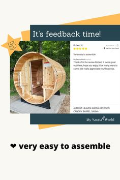 Look at how nice this barrel sauna is, you'll see it's very easy to assemble and does not require a lot of handyman skills. Get yourself a barrel sauna here! You too can build one. 💪 Barrel Sauna, Traditional Saunas, Outdoor Sauna, Low Humidity, Wall Watch, Canopy, Heaven, Nice, Easy