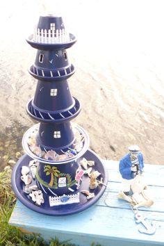 leuchtturm f r den garten in blau und wei selber bauen garten pinterest blau und wei. Black Bedroom Furniture Sets. Home Design Ideas