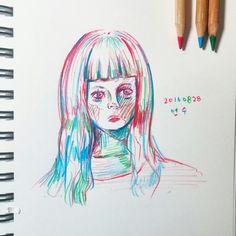 색연필드로잉 ;Girl