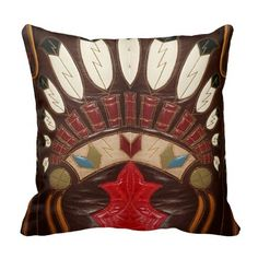 Western Style Leather Look Throw Pillows