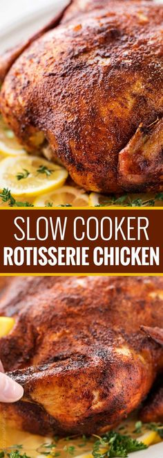 "Making this homemade ""rotisserie"" chicken is as easy as 5 minutes of prep and a handful of spices. Then sit back and let your slow cooker do all the work! 
