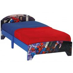 ensemble spiderman de la marque someo compos d 39 un lit spiderman de taille 90x140 avec sommier. Black Bedroom Furniture Sets. Home Design Ideas