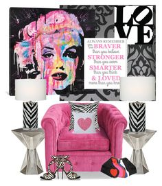 """Marilyn...Braver, Stronger, Smarter & Loved..."" by kimberlyd-2 ❤ liked on Polyvore featuring interior, interiors, interior design, home, home decor, interior decorating, Astek, iCanvas, Tom Dixon and The Pillow Collection"
