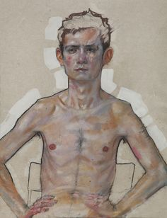 Boy Sitting on a Chair - Pastel Gras, Acrylique et Lavis sur Papier parchemin - 50 x 65 cm