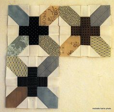 """A more homespun take on the Japanese x and + quilt square"""