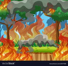 Fire in the forest vector image on VectorStock Farm Coloring Pages, Bird Curtains, Christian Cartoons, Glitch Wallpaper, Forest Illustration, Flashcard, Happy Earth, Game Design, Preschool Activities