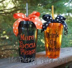 Drink Up Witches or More Boos Please Halloween Tumbler Cup with Lid and Straw by ThePreppyPolkaDot on Etsy cricut halloween ideas Halloween Cups, Halloween Treats, Fall Halloween, Halloween Decorations, Biker Halloween, Halloween Teacher Gifts, Halloween Items, Halloween 2019, Vinyl Crafts