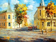 Autumn day OIL PALETTE KNIFE on canvas Painting by by spirosart