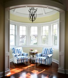 I see a small room like this, (not round) off of the bedroom overlooking the barn.  LOVE the panel/trim