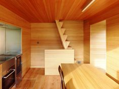 Architecture, Minimalist Cozy Wooden Cabin Interior Design By Savioz Fabrizzi Architectes: Wooden Stairs On Wooden Wall Viewed From Wooden D. Wooden Staircases, Wooden Stairs, Wooden House, Architecture Design, Contemporary Architecture, Wooden Cabins, Wooden Kitchen, Kitchen Dinning, Room Kitchen